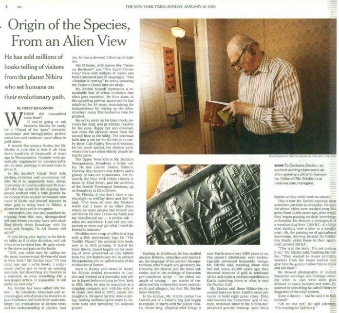 Extracto de la entrevista a Sitchin publicada en el New York Times en el año 2010. (Imagen: Código Oculto).