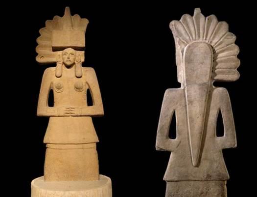 Anverso y reverso de una estatua de Tlazoltéotl huasteca, Museo Británico. (The Trustees of the British Museum/CC BY NC SA 4.0)