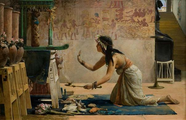 'Exequias de un gato egipcio', óleo de John R. Weguelin, 1886. (Public Domain)