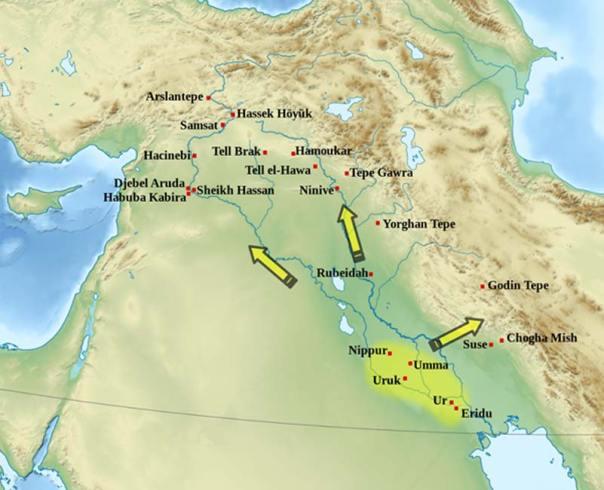 La expansión cultural de Uruk, 3600 a. C. – 3200 a. C. (CC BY-SA 3.0)