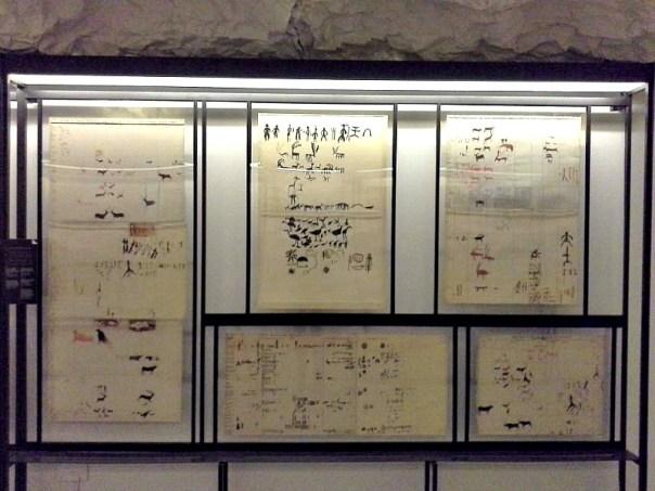 Algunos de los calcos rupestres elaborados por Juan Cabré y Aguiló, ahora expuestos en el Museo de la Evolución Humana de Burgos, España. (Fotografía: Heraldo de Aragón)