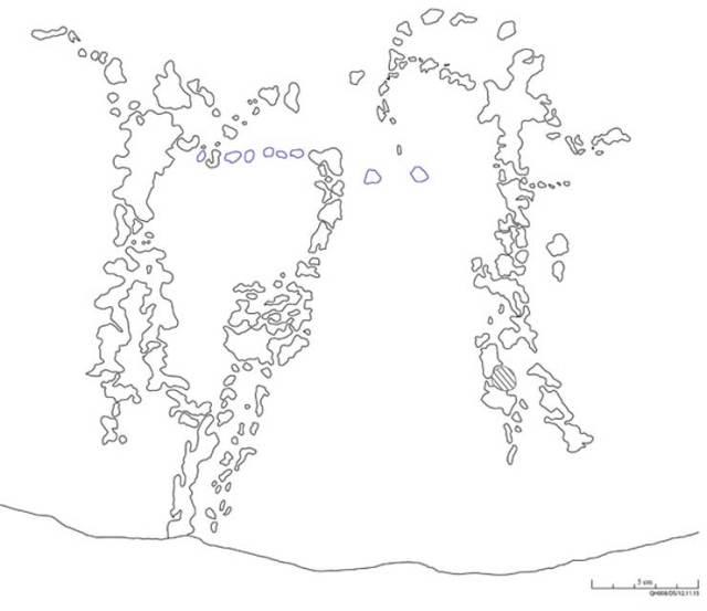 Solo la precisa documentación arqueológica de los rastros y el dibujo de sus contornos lograron sacar a la luz estas figuras del antiguo arte rupestre egipcio halladas en Qubbet el-Hawa. (Dibujo: David Sabel)