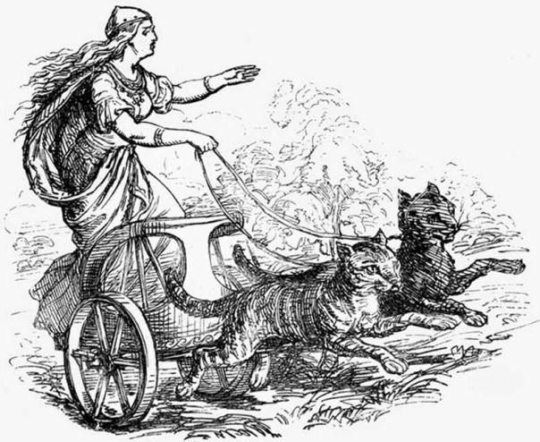 Freyja en su carro tirado por gatos. (CC BY NC 2.0)