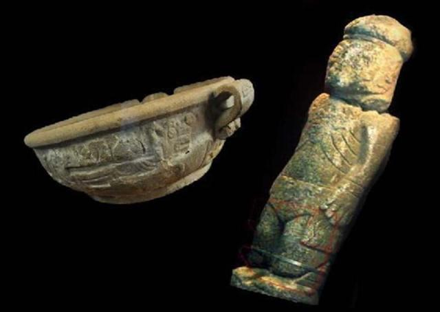 Fuente Magna (izquierda) y Monolito de Pokotia (derecha). Composición fotográfica aportada por el autor.