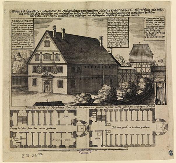 Grabado de la 'malefizhaus' de Bamberg (Alemania) realizado en 1627. En casas como ésta las supuestas brujas eran encerradas e interrogadas. (Public Domain)