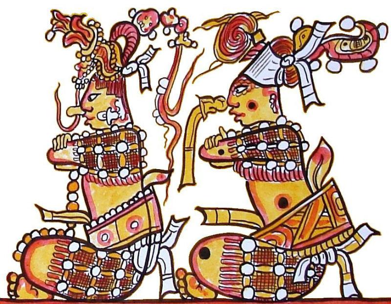 Los héroes gemelos del Popol Vuh, Huhnapú e Ixbalanqué. Dibujo realizado a partir de la decoración de una antigua pieza cerámica maya. (Lacambalam-CC BY-SA 4.0)