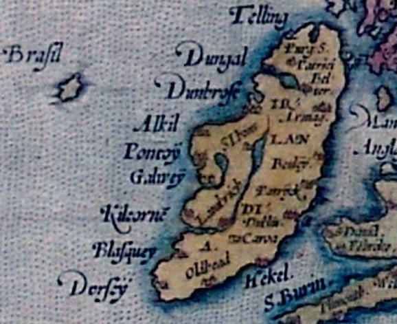 Hy-Brasil (aquí simplemente Brasil), detalle del Mapa de Europa de Ortelius (Wikimedia Com-mons)