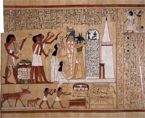 Ilustración del 'Libro de los muertos' de Hunefer. (Dominio público) En el extremo izquierdo un sacerdote lleva puesto el fetiche Imiut mientras se realiza un ritual con la momia.