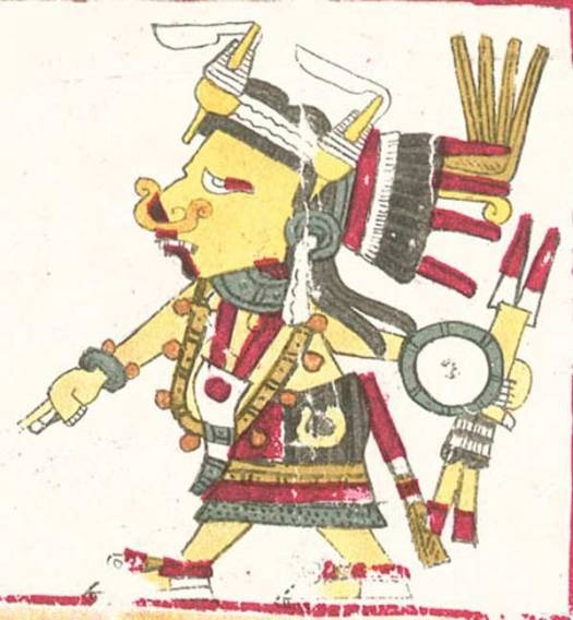 Ilustración de Tlazoltéotl, una de las deidades descritas en el Códice Borgia. (Dominio público) Obsérvense sus labios ennegrecidos.