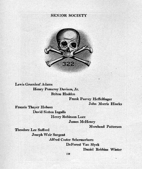 Lista de miembros de la delegación de 'Skull and Bones' del año 1920, Universidad de Yale, New Haven, Connecticut. La lista incluye los nombres los dos fundadores de la revista Time, Briton Hadden y su compañero de clase Henry Robinson Luce. Publicada en el vol. 12 del diario Yale Banner, The Yale Banner and Pot Pourri, 1919-1920. Cortesía de la Base de Datos de Manuscritos y Archivos Digitales de la Universidad de Yale. (Public Domain)