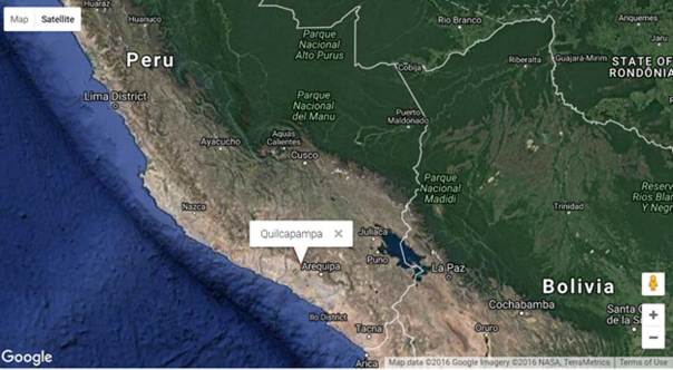 Quilcapampa, Perú. (Google Maps, 2016/Geographic.org)
