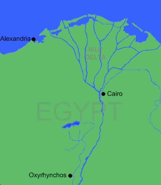 Situación geográfica de Oxirrinco (Public Domain)