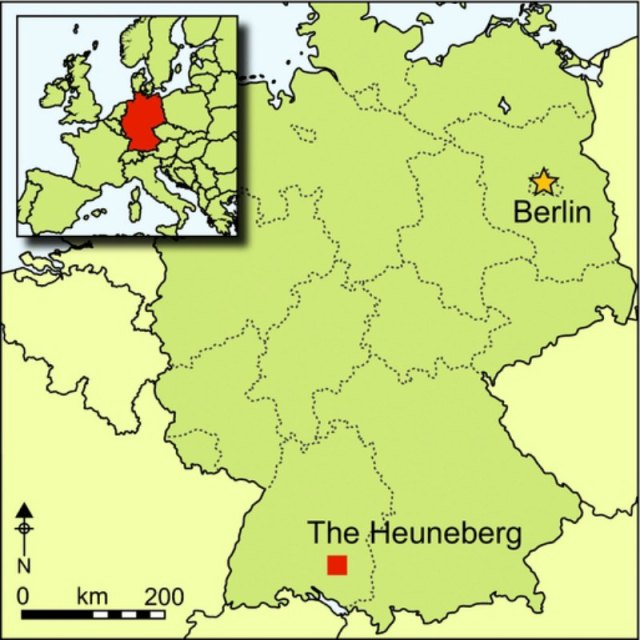 Situación geográfica del yacimiento arqueológico de Heuneberg. (Mapa: Antiquity/Cambridge Core)