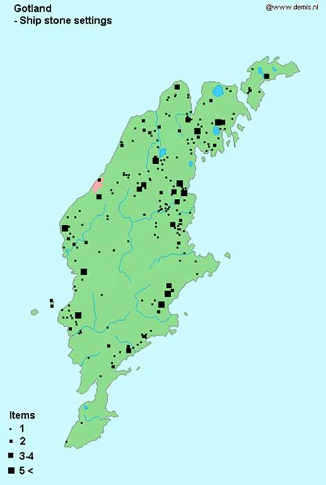 Situación geográfica de los barcos de piedras de la isla sueca de Gotland. (Public Domain)