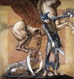Pegaso nace del cuerpo de Medusa decapitada. 'The Perseus Series: The Death of Medusa I', ilustración de Edward Burne-Jones (Public Domain)