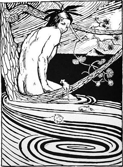 Nanabozho entre las aguas (Ilustración de R. C. Armour, de su libro 'Cuentos de hadas, folklore y leyendas de los indios norteamericanos', editado en 1905 (Public Domain)