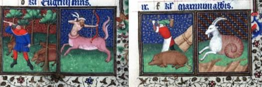 La cría del cerdo en la Edad Media: engorde en noviembre y matanza en diciembre. Cortesía de la Biblioteca Brotherton, Universidad de Leeds