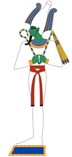 Osiris era el Señor de los Muertos en la religión del antiguo Egipto. Aquí podemos verle envuelto en los típicos vendajes de momia. Imagen basada en pinturas funerarias del Imperio Nuevo. (CC BY-SA 4.0)