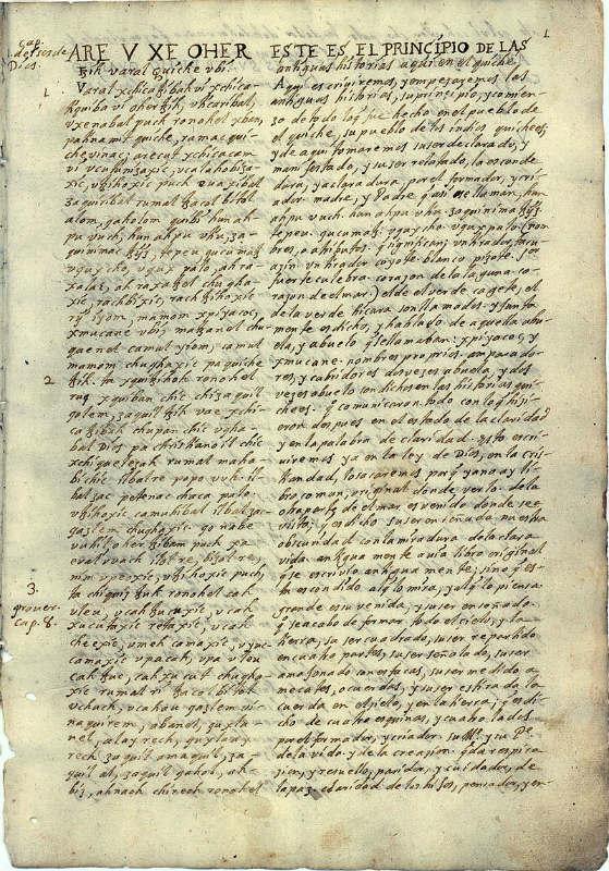 Página original del Popol Vuh o Libro de la Comunidad. (Public Domain)