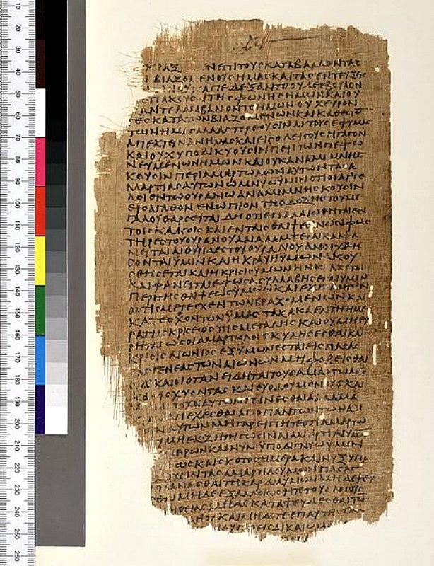 Reverso del manuscrito P.Mich.inv. 5552 con pasajes del Libro de Enoc en griego. Este manuscrito forma parte de los Papiros bíblicos Chester Beatty, siendo concretamente su 3ª hoja, que también contenía una homilía cristiana desconocida atribuida a Melitón de Sardes. El documento es casi con toda probabilidad de origen egipcio. Universidad de Michigan, Biblioteca Ann Arbor. (Dominio público)