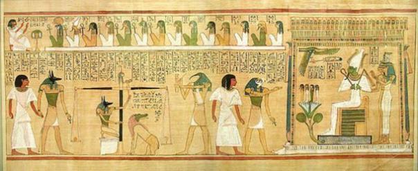 Escena de pesaje del corazón en la que aparece sentada la diosa Ammit. Libro de los muertos de Hunefer. (Public Domain)