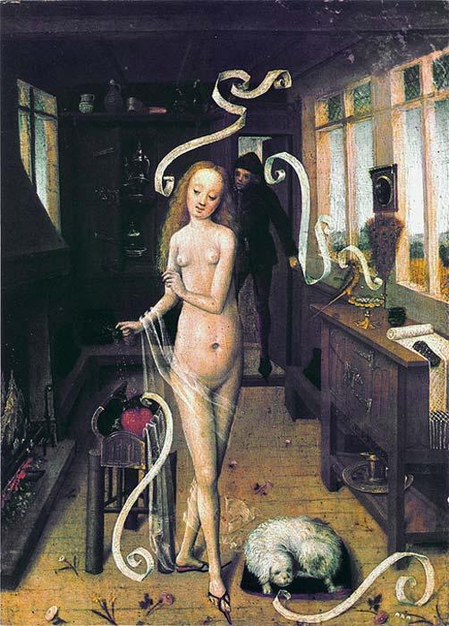 Pintura del bajo Rhin (1470-80) en la que aparecen elementos de magia de amor. (Public Domain)