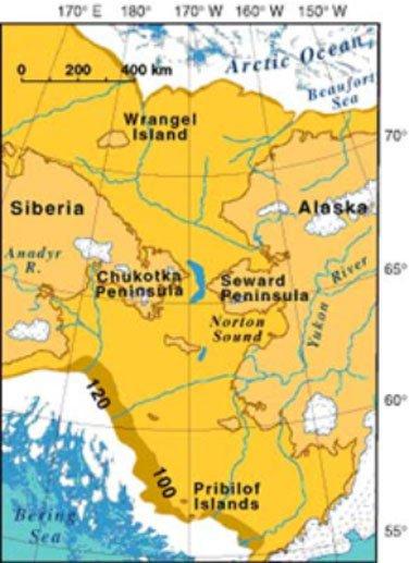 Mapa del Puente de Beringia, por el que inmigrantes procedentes de Asia habrían entrado hace milenios en el continente americano. (Public Domain)
