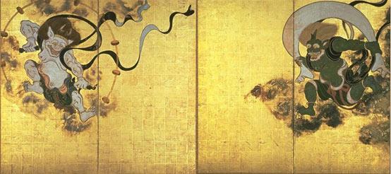 Fujin-raijin-zu por Tawaraya Sōtatsu. Raijin se muestra a la izquierda y Fujin a la derecha.