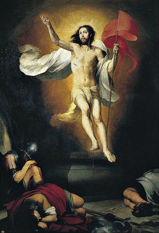 """Los evangelios afirman que, tras su muerte, """"al tercer día"""", Jesús resucitó y ascendió a los cielos. En la imagen, Resurrección del Señor, óleo de Bartolomé Esteban Murillo (1617-1682). Real Academia de Bellas Artes de Madrid, España. (Public Domain)"""
