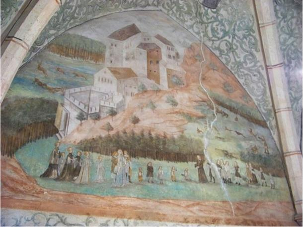 Castillo de Houska, distrito de Česká Lípa, región de Liberec, República Checa. Fresco renacentista del Salón de los Cazadores. (CC BY SA 3.0)
