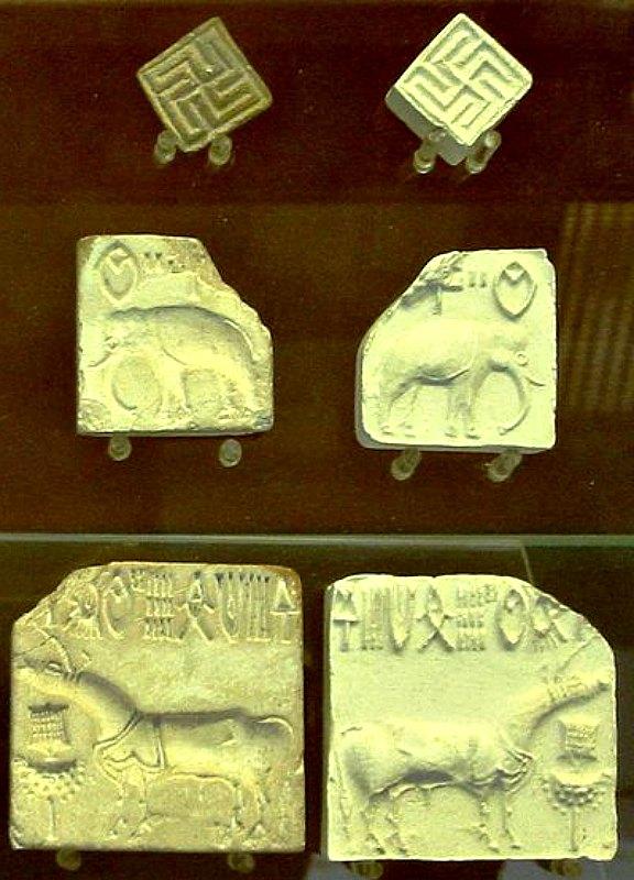Conjunto de sellos de la civilización del Valle del Indo en los que aparecen esvásticas. Museo Británico. (World Imaging/GNU Free)