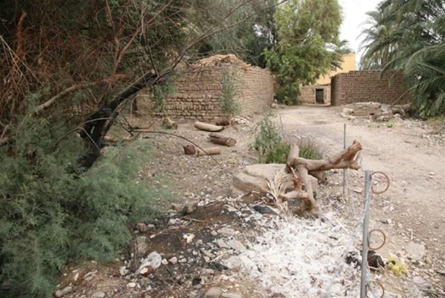 Restos del templo de Tutmosis I en Gurna: a día de hoy aún se puede observar a simple vista la base de una de sus columnas. (Fotografía: J. Iwaszczuk)