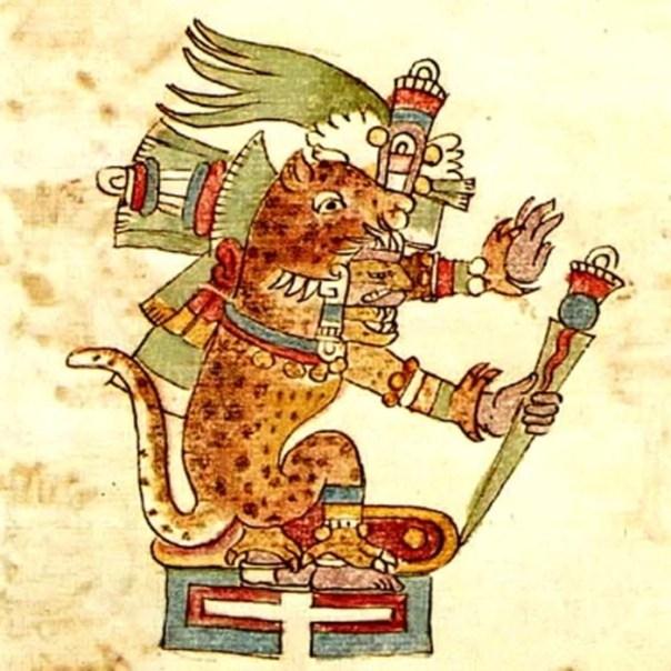 Ilustración de Tezcatlipoca tal y como aparece en el Códice Ríos, ataviado como un jaguar. Bajo esta forma recibía el nombre de Tepeyollotl. (Public Domain)