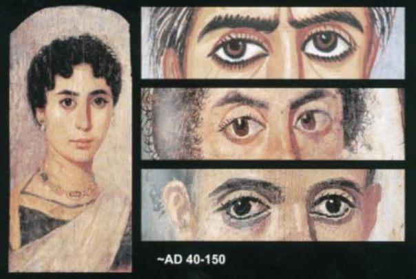 Desviación de los ejes visuales (tropia) y pupilas ovales (corectopia) observadas en algunos retratos de momias. La mujer de la túnica azul de la pintura de la izquierda muestra, en este logrado retrato, el gran realismo de sus ojos. Arriba a la derecha: Esotropía y ligera exoftalmia del ojo izquierdo en una mujer de avanzada edad. Centro a la derecha: Esotropía del ojo izquierdo y pupilas ovales bilaterales (corectopia) en una mujer de mediana edad. Abajo a la derecha: Exotropía del ojo derecho en el retrato de un muchacho. (O Appenzeller et al.)