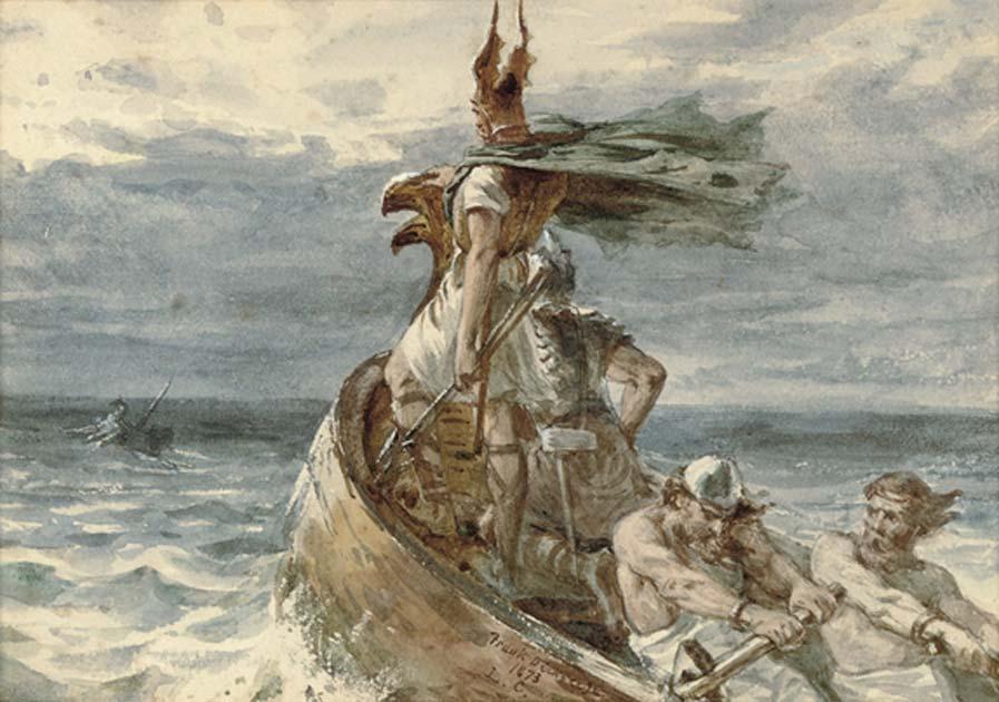 Guerreros vikingos se dirigen a tierra para desembarcar, óleo de Frank Dicksee, 1873 (Dominio público)