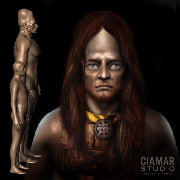 Imagen de portada: Escultura Digital en 3D de Gigante con melena, pectoral de cobre y collar. Imagen cortesía de Marcia K. Moore, Ciamar Estudio. Para más recreaciones de gigantes, visita Marcia K. Moore's website.