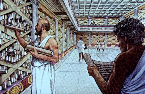 Representación artística de la Biblioteca de Alejandría.