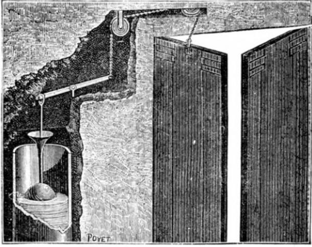 """Apparatus for sounding a trumpet when the door of a temple was opened, pictured in the book """"Magic, Stage Illusions and Scientific Diversions Including Trick Photography."""""""