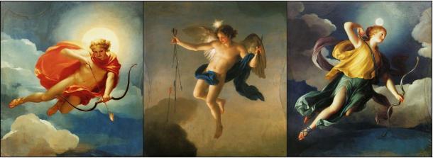 Tres pinturas muestran tres deidades de la mitología griega personificando los tiempos del día.
