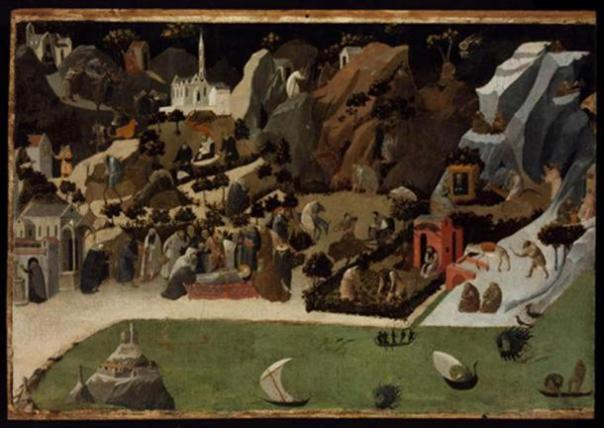 Escenas de la vida de los padres del desierto (Thebaid), 1420. (Dominio público)