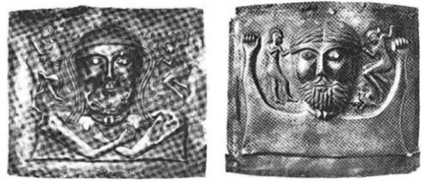 La segunda placa de chakra femenina (izquierda) y la cuarta placa de chakra masculina (derecha). (Autor proporcionado)