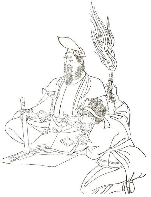 Abe no Seimei según lo dibujado por Kikuchi Yosai.