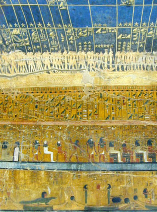 Astronomical ceiling of the tomb of Pharaoh Seti I (KV17) showing the personified representations of stars and constellations.