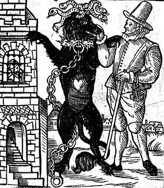 Disegno del Cane nero di Newgate, dal libro 'La scoperta di un mostro di Londra chiamato il cane nero di Newgate,' pubblicato nel 1638.