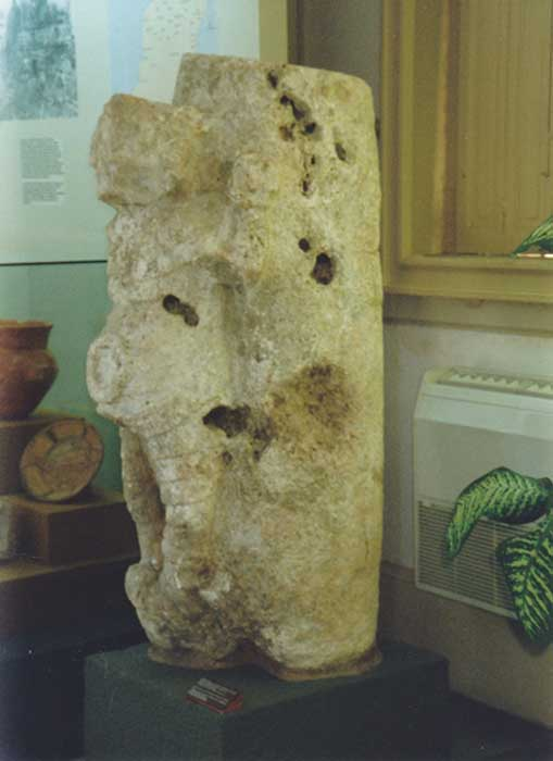Column sculpture from the Merida Museum, Yucatan Mexico. Notice the heavy pitting and holes caused by erosion, likely caused from the corrosive action of sea water. (Photo: Cliff Dunning)