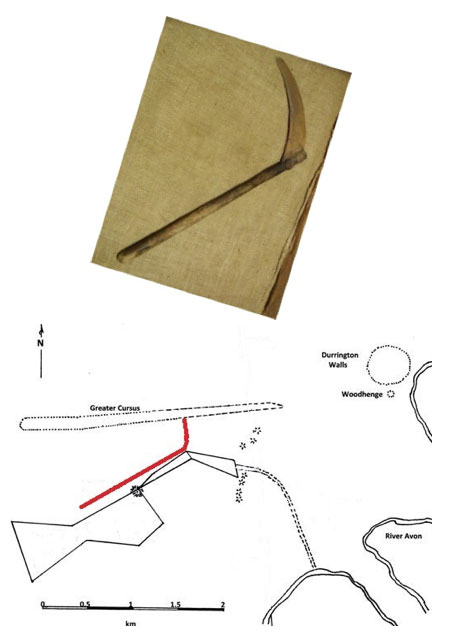 Compare the shape of a scythe (left) with the shape of Stonehenge Palisade (right, in red) (Illustration by author; photo credit: miliki)