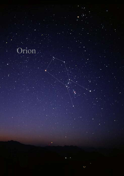 Constellation Orion come si vede ad occhio nudo.