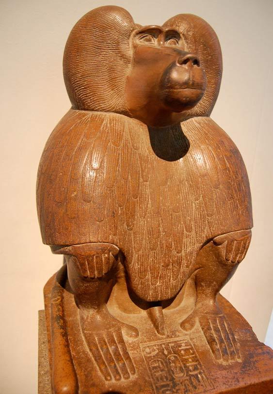 Representación de Thoth como babuino, alrededor del año 1400 antes de Cristo.