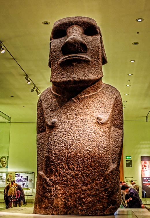 In this image, the true size of the Easter Island statues can be seen in relation to the people in the background.