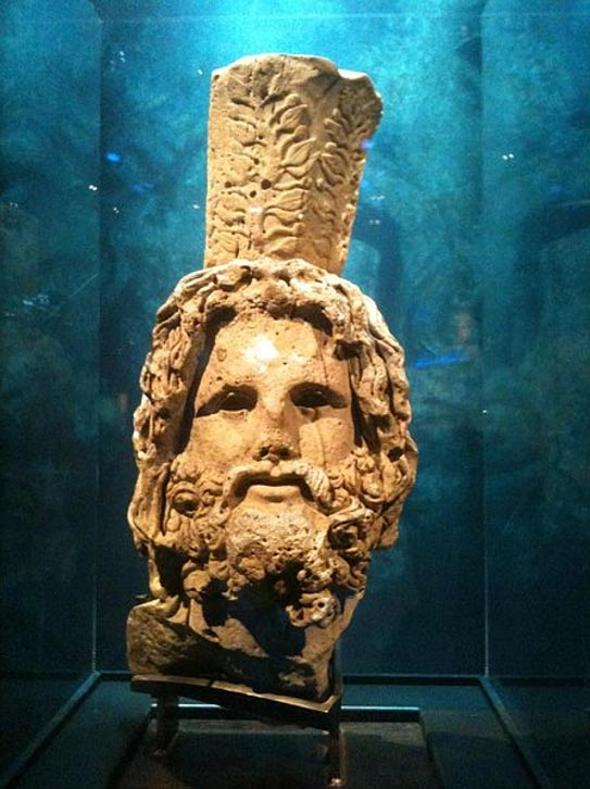 Head of Serapis from a 12 foot (3.7 meter) tall statue found off the coast of Alexandria.